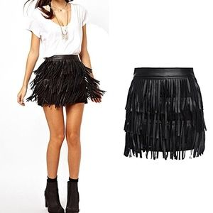 Zara black leather fringe mini skirt